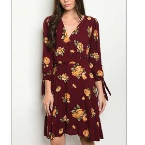Dresses & Skirts - Burgundy Wine Floral Dress